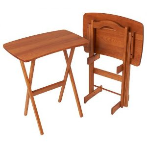 Manchester Wood Contemporary Folding Tv Trays Table Set Of 2